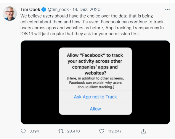 iOS 14 Update. App Tracking Transparency